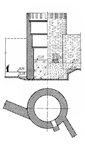 An ancient Greek tower (section and floor plan) of the walls of the Ionian city Tyras at the SW shore of the Dnestrovs'kyy Lyman