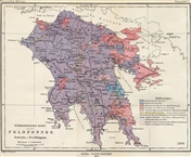 Ethnographische Karte des Peloponnes, 1890 / Ethnographic Map of the Peloponnese, 1890