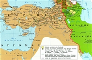Eastern section of the Ottoman Empire and the Safavid Kingdom of Persia in 1639.
