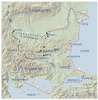 Alexander the Great's route from the Aegean to the Danube, through Thrace, 335 BC