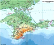 Geomorphological map of the Crimea with main cities and roads (2003)